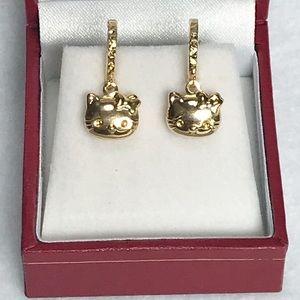 NIB 18k Gold Hello Kitty Hoop Earrings